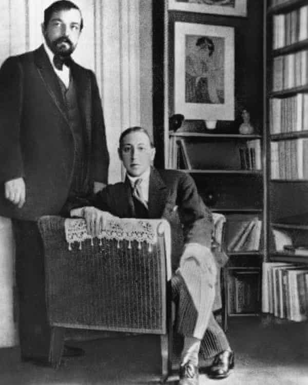 Debussy with fellow composer Igor Stravinsky in 1910
