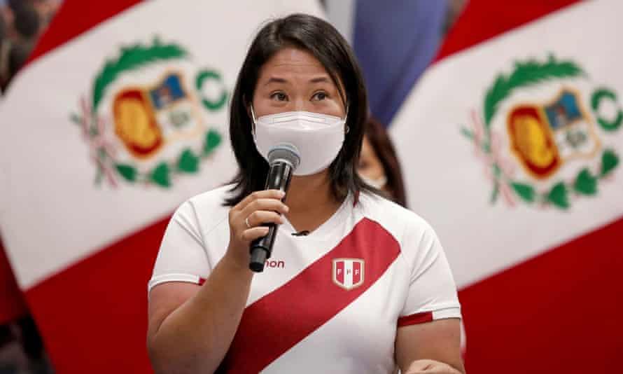 Rightwing presidential candidate Keiko Fujimori addresses the media.