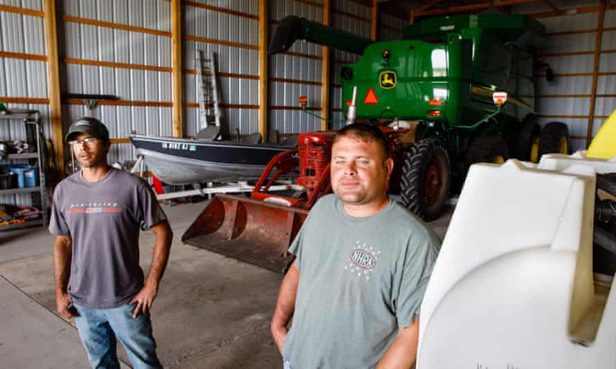Brad Mickelson and Ryan Mickelson on Friday in Duncombe, Iowa.