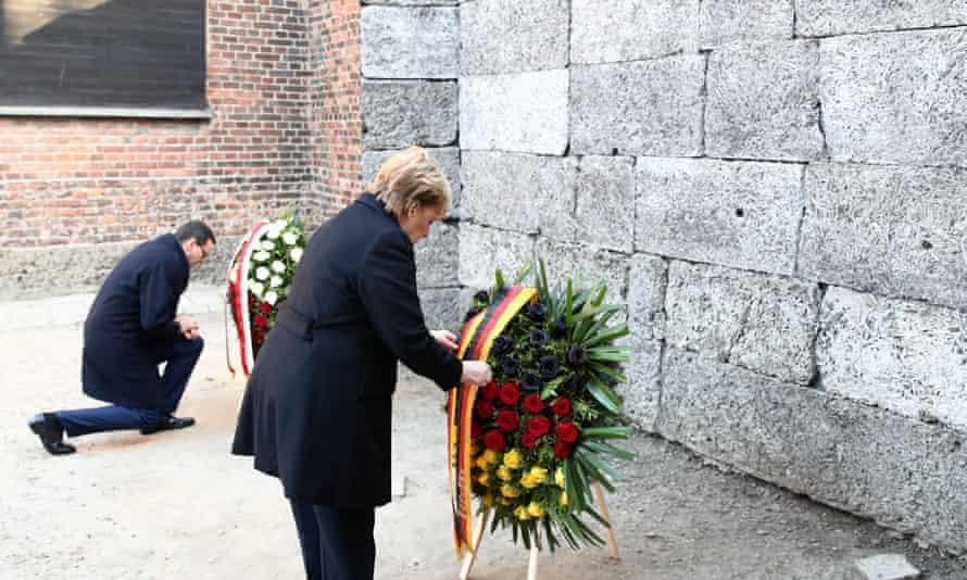 Mateusz Morawiecki and Angela Merkel visit the Auschwitz-Birkenau memorial in Oswiecim