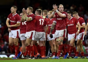 Wales' Alun Wyn Jones and team mates applaud fans at the end of the match.