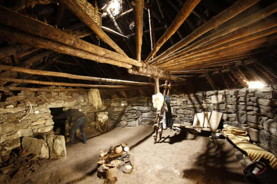 Inside the iron age house.