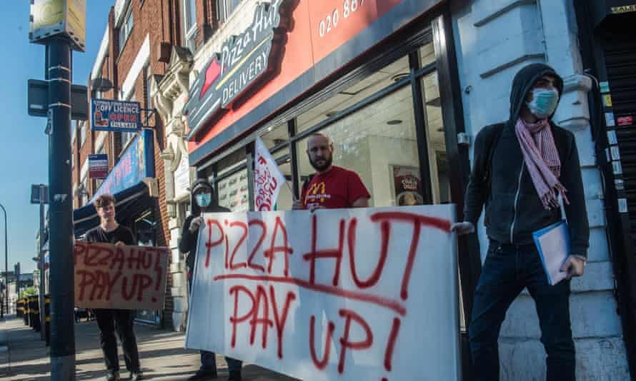 Pizza Hut employees protesting in April over delayed furlough payments, in Lewisham, south London.
