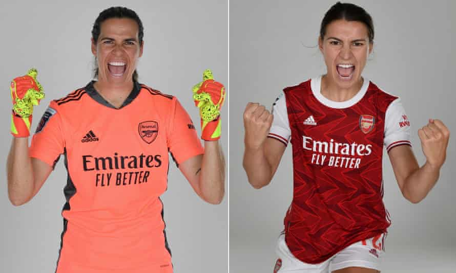 Arsenal's new Australian signings, goalkeeper Lydia Williams (left) and Steph Catley.