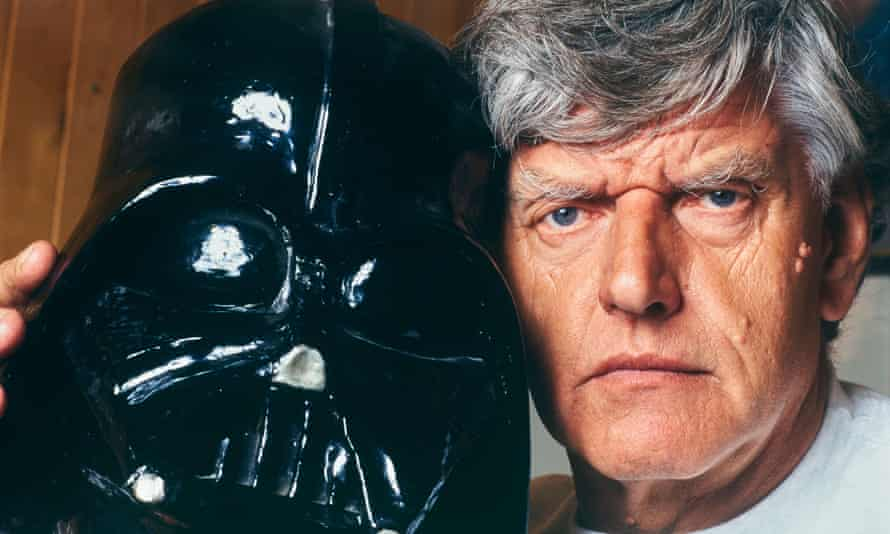 Dave Prowse with a Darth Vader mask. He was responsible for Vader's imposing physicality and distinctive sweeping movements, but his voice was dubbed.