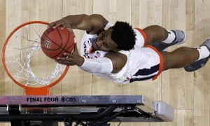 Virginia's Braxton Key dunks during the championship of the NCAA college basketball tournament against Texas Tech in April.