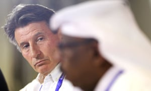 Sebastian Coe speaks at a press conference defending the decision to stage the world championships in Qatar.