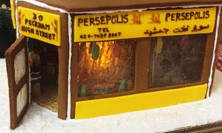 A gingerbread version by Jonathan Armistead and Oliver Singleton of the Persepolis grocery and restaurant in Peckham, south London.