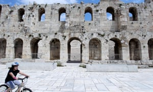 The Odeon of Herodes Atticus, located on the southwest slope of the Acropolis, is popular in the summer in Athens with many concerts.