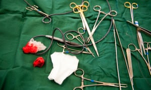 Surgical tools used to perform operations on dogs at Battersea Dogs & Cats Home