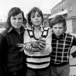 Three Boys and a Pigeon, National Portrait series, 1974, by Daniel Meadows Running through the show is a wide-held fascination with the determined way children will seek out nature wherever they find themselves, as exemplifed by this Meadows shot from his expansive National Portrait series. This year-long project saw the photographer cover 10,000 miles of English countryside in a converted double-decker bus, taking a total of 958 portraits of the people he encountered