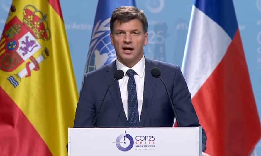 Australia's energy and emissions reduction minister Angus Taylor speaks at the COP25 UN climate talks in Madrid.