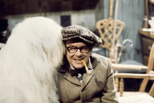 Eric Morecambe with a shaggy dog
