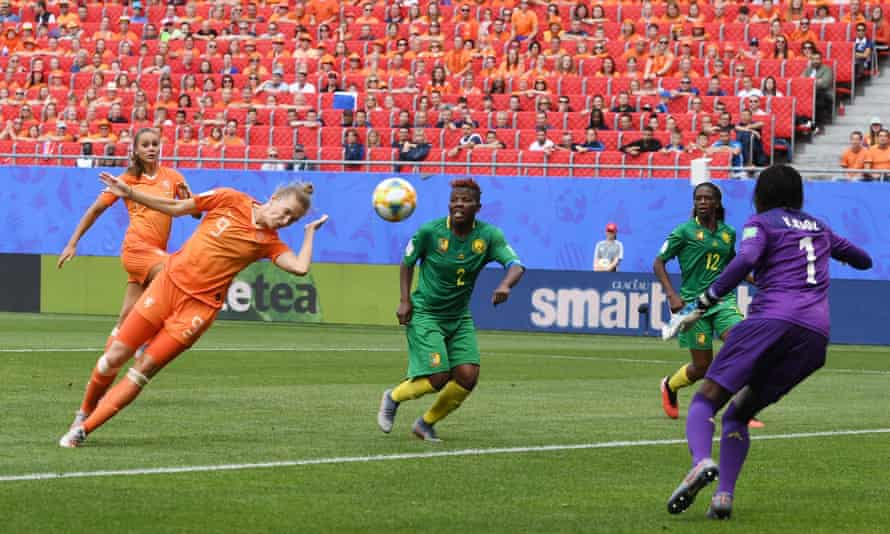 Vivianne Miedema dives for a header while playing for the Netherlands against Cameroon during the 2019 World Cup in France.