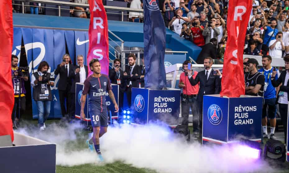 Neymar Jr during his official presentation to the public as PSG player prior to their French Ligue 1 match agiainst Amiens SC at the Parc des Princes stadium in August 2017.