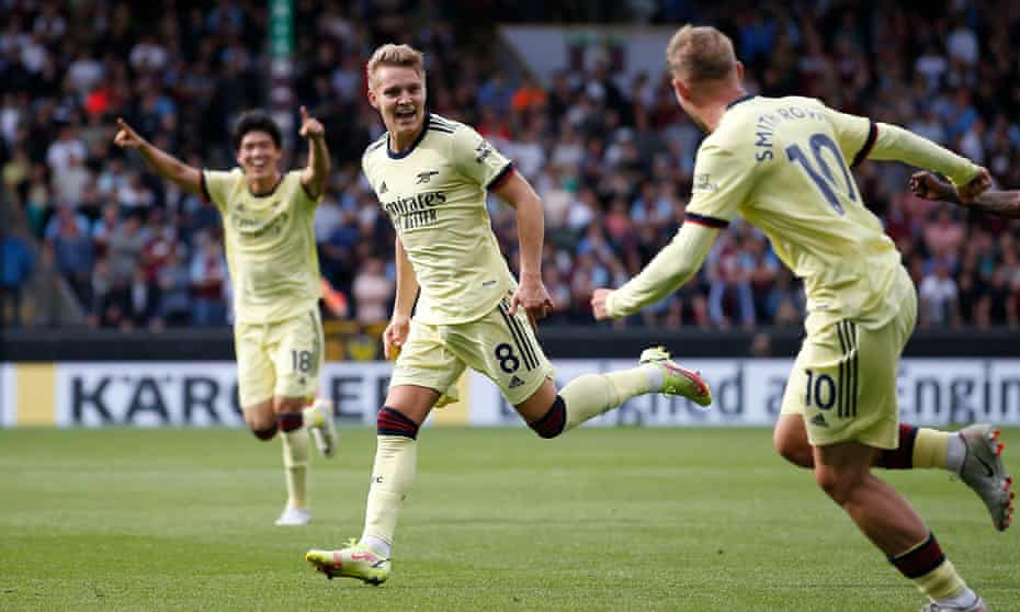 Martin Ødegaard celebrates scoring the only goal for Arsenal against Burnley.