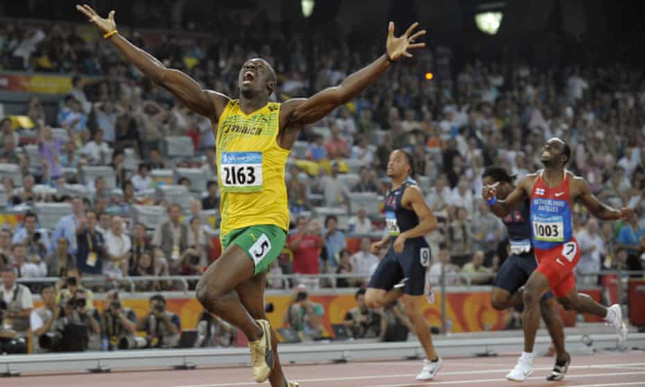 Usain Bolt sets a new world record in winning the 200m at the Beijing Olympics in 2008