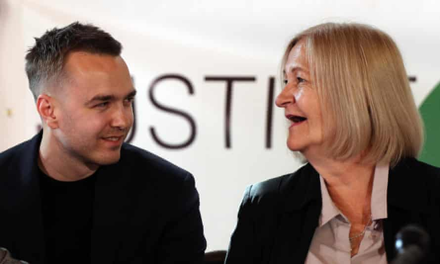 Sally Challen and her son David at the press conference