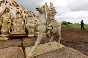 An ivory equestrian statue at the site