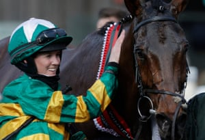 Rachael Blackmore in the winners enclosure after victory on Minella Times in the Grand National.