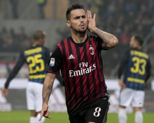 Suso celebrates after scoring against Inter in the Milan derby.
