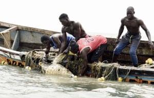 Fishermen save a sea turtle