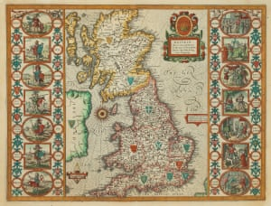 Britain As It Was Devided in the tyme of the Englishe Saxons especially during their Heptarchy, by John Speed. £3,250First published in 1611, this map of the British Isles comes from the 1616 Latin edition of Speed's Theatre of the Empire of Great Britain. England is shown divided into the seven Saxon kingdoms, with the kingdoms of the Scots, Picts and Welsh marked. Flanking the map are two columns of vignettes: on the left can be seen the first king of each Saxon region; on the right the conversions of their successors to Christianity, persuaded by discussion, preaching, visions and violence.