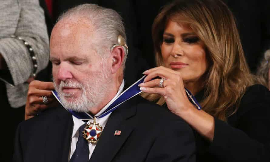 Rush Limbaugh receives the presidential medal of freedom from the first lady, Melania Trump, during the State of the Union address.