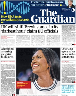 Guardian front page, Tuesday 18 September 2018
