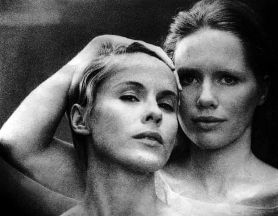 Bibi Andersson, left, with Liv Ullmann on the set of Ingmar Bergman's Persona, 1966.