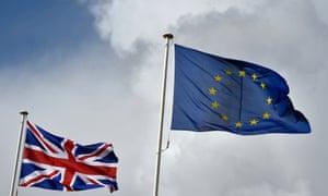 Union flag fluttering next to the EU flag