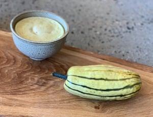 Delicata squash with coconut custard.