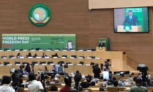 Jeremy Hunt makes a speech at the African Union Headquarters on Thursday in Addis Ababa, Ethiopia,.