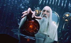 Saruman with his seeing stone in The Lord of the Rings.