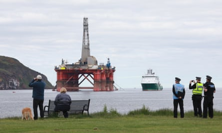 The Paul B Loyd Jr oil rig, owned by Transocean and operated by BP, in the Cromarty Firth in Scotland