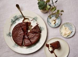 Rachel Roddy's chocolate, chestnut, almond and prune cake.