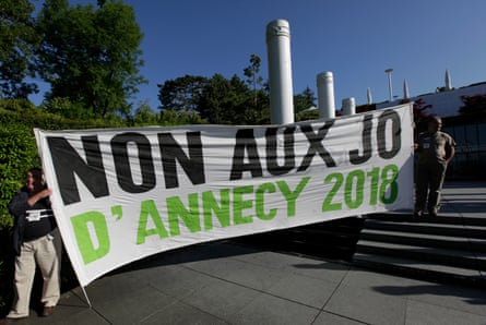 Protesters campaign against the project of Annecy 2018 Olympic bid in 2011.