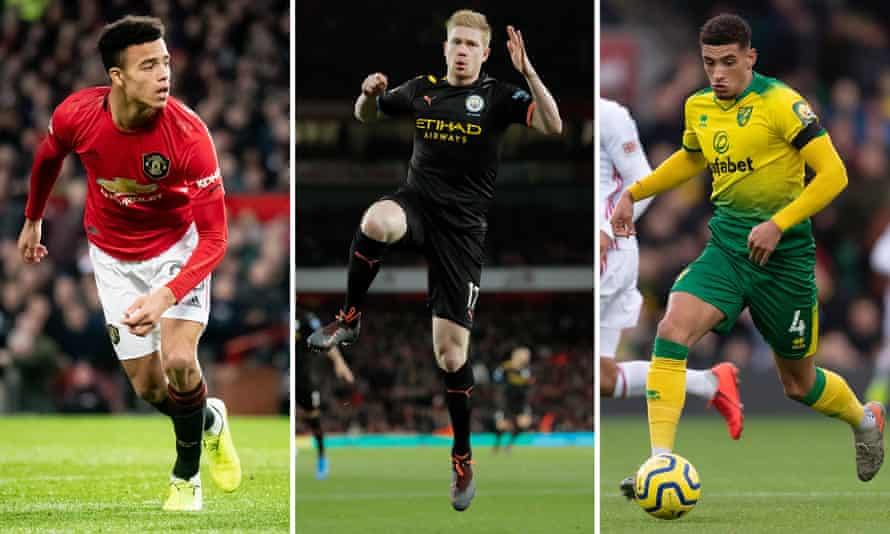Mason Greenwood of Manchester United; Kevin De Bruyne of Manchester City; Ben Godfrey of Norwich City