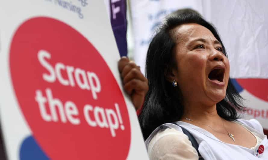 Nurses protest against the pay cap outside the Ministry of Helth