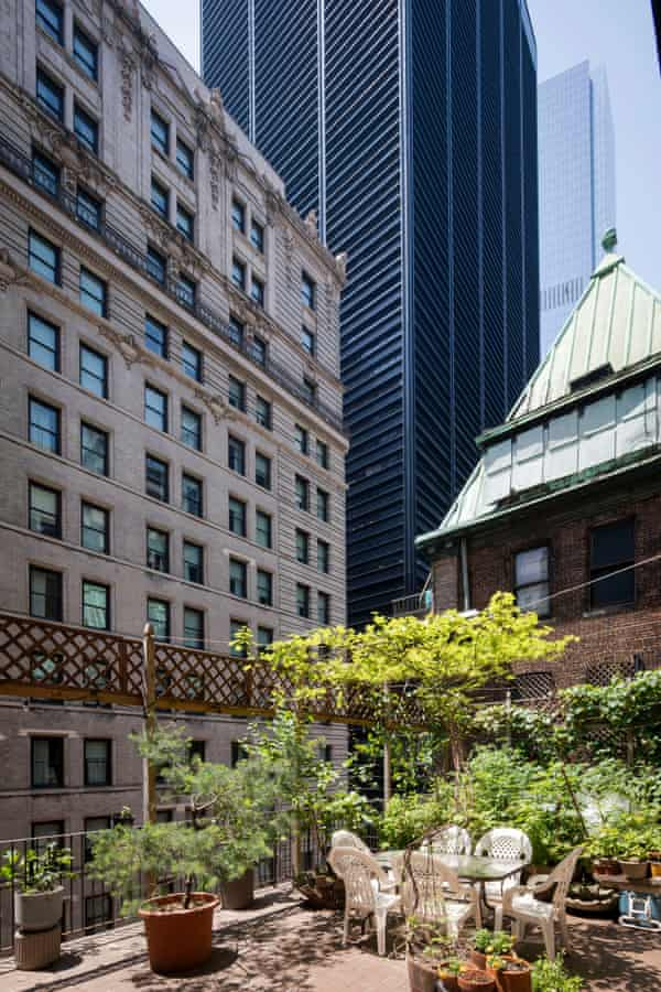 The basketball court-size terrace, sharedwith two other apartments and overlooked by One Liberty Plaza.