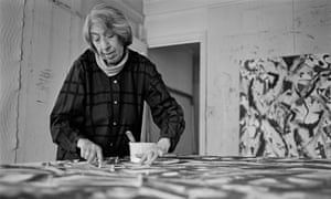 Abstract expressionist painter Lee Krasner (1908–1984) at work, 1981.