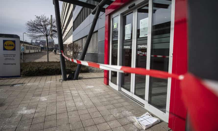 The taped-off entrance to the Lidl headquarters in Neckarsulm, Germany