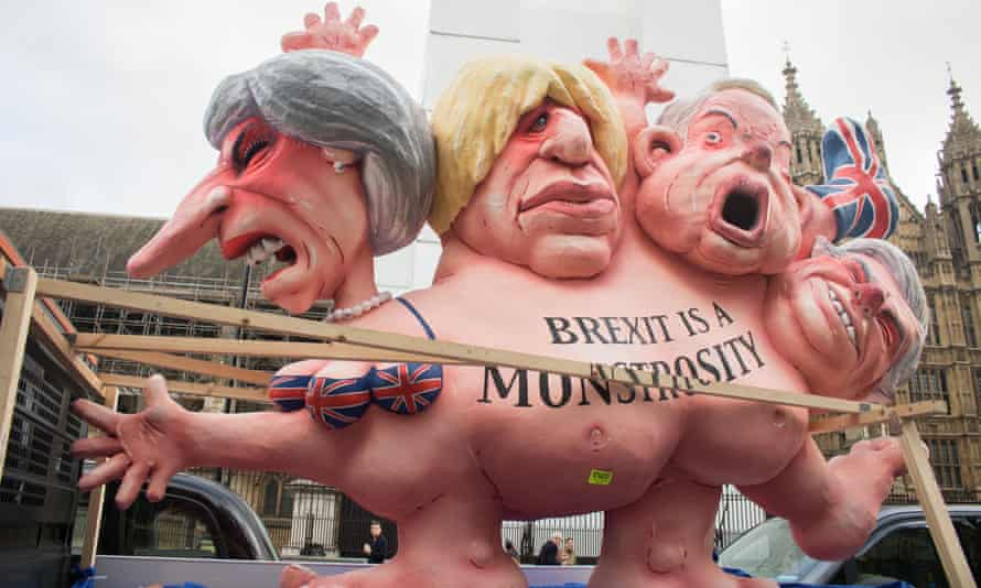 An effigy in caricature of Theresa May, Boris Johnson, Michael Gove and David Davis in Westminster.