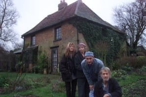 Crass pictured at their Dial House base in North Weald, 2000, with Penny Rimbaud far right