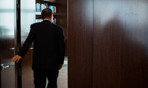 United Nations Secretary-General Ban Ki-moon walks into his office after an interview with The Guardian.