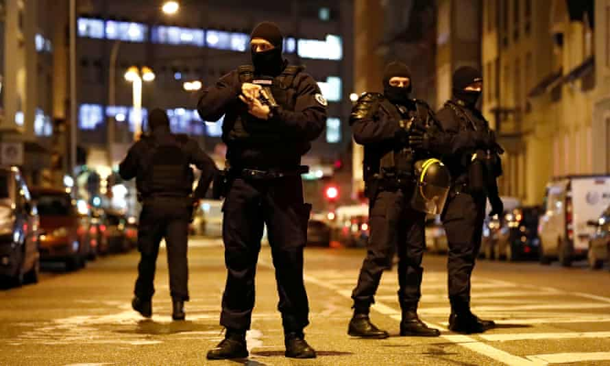 French special police forces secure an area during a police operation seeking the suspected gunman.
