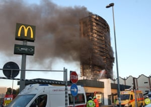 Milan, ItalyA fire rages at a 15-storey apartment building in via Antonini, in the southern suburbs of the city. All residents were evacuated safely.