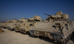 The US has sent additional troops and Bradley fighting vehicles into into eastern Syria.