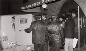 Police raid the Club bathhoue in Toronto on 6 February 1981.