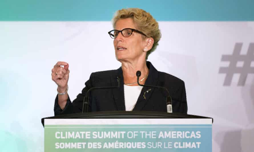 Ontario premier Kathleen Wynne speaks at the Climate Summit of the Americas in Toronto.